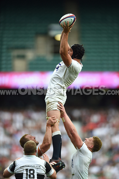 Charlie Ewels of England wins the ball at a lineout. Old Mutual Wealth Cup International match between England and the Barbarians on May 28, 2017 at Twickenham Stadium in London, England. Photo by: Patrick Khachfe / Onside Images