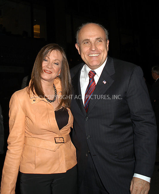 Rudy Giuliani and Judy Nathan at the premiere of 'The Sopranos.' New York, March 2, 2004. Please byline: AJ SOKALNER/ACE Pictures.   ..*PAY-PER-USE*      ....IMPORTANT: Please note that our old trade name, NEW YORK PHOTO PRESS (NYPP), is replaced by new name, ACE PICTURES. New York Photo Press and ACE Pictures are owned by All Celebrity Entertainment, Inc.......All Celebrity Entertainment, Inc:  ..contact: Alecsey Boldeskul (646) 267-6913 ..Philip Vaughan (646) 769-0430..e-mail: info@nyphotopress.com