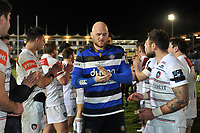 Matt Garvey of Bath Rugby leads his team off the field. Anglo-Welsh Cup match, between Bath Rugby and Leicester Tigers on November 10, 2017 at the Recreation Ground in Bath, England. Photo by: Patrick Khachfe / Onside Images