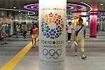 August 9th, 2013 : Tokyo, Japan -  An Advertisement of Tokyo as a candidate for 2020 Olympics and Paralympics was seen at Shibuya Station, Shibuya, Tokyo, Japan on August 9, 2013. (Photo by Koichiro Suzuki/AFLO)
