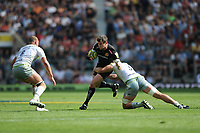 Ian Whitten of Exeter Chiefs is tackled by George Kruis of Saracens during the Aviva Premiership Rugby Final between Exeter Chiefs and Saracens at Twickenham Stadium on Saturday 26th May 2018 (Photo by Rob Munro/Stewart Communications)