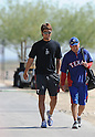 Yu Darvish (Rangers),.FEBRUARY 21, 2012 - MLB : New Texas Rangers pitcher Yu Darvish (L) of Japan walks with his with interpreter Joe Furukawa during the team's spring training in Surprize, Arizona, United States..(Photo by AFLO)