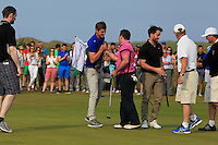 Paul O'Hanlon (Carton House) being congratulated by Jack Pierse (Portmarnock) on winning the East of Ireland Amateur Open Championship sponsored by City North Hotel at Co. Louth Golf club in Baltray on Monday 6th June 2016.<br /> Photo by: Golffile   Thos Caffrey
