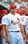 8 March 2012: St. Louis Cardinals pitcher Kevin Siegrist stands outside the dugout prior to a Spring Training game against the Boston Red Sox at Roger Dean Stadium in Jupiter, Florida. The Cardinals defeated the Red Sox 9-3 in Grapefruit League action. Mandatory Credit: Ed Wolfstein Photo