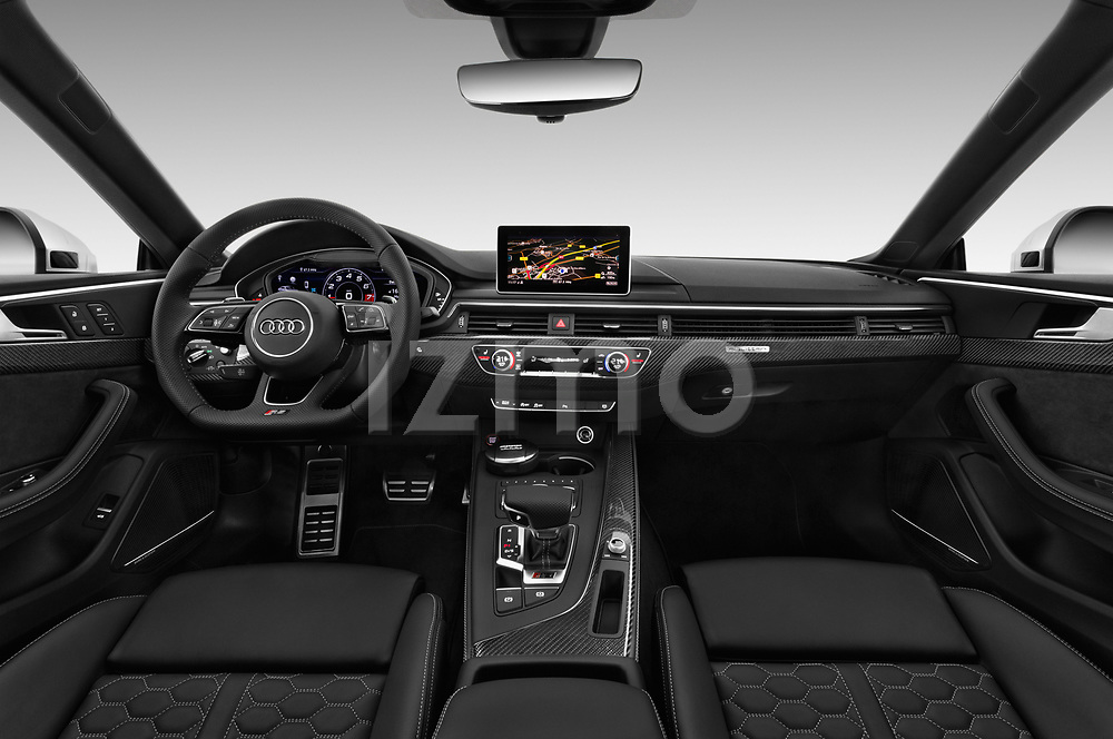 Stock photo of straight dashboard view of a 2019 Audi RS5 4WD 2 Door Coupe