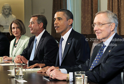 United States President Barack Obama meets with (L-R) U.S. House Minority Leader Representative Nancy Pelosi (Democrat of California), Speaker of the U.S. House John Boehner (Republican of Ohio), and U.S. Senate Majority Leader Harry Reid (Democrat of Nevada) in the Cabinet Room of the White House, Monday, July 11, 2011 in Washington, DC. President Obama continued the budget and debt limit negotiations with congressional Republicans and Democrats.  .Credit: Alex Wong / Pool via CNP