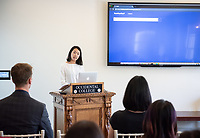 Ellen Shin '18.<br /> Occidental College's Computer Science Department hosts their first ever senior comps on April 13, 2018 in Morrison Lounge of the Johnson Student Center.<br /> (Photo by Marc Campos, Occidental College Photographer)