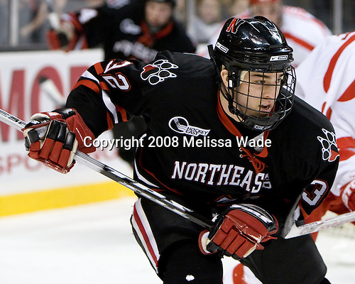 Dylan Wiwchar (NU - 32) - The Boston University Terriers defeated the Northeastern University Huskies 5-4 in the 2008 Beanpot consolation game on Monday, February 11, 2008, at the TD Banknorth Garden in Boston, Massachusetts.