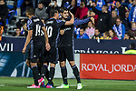 James Rodriguez and Alvaro Morata celebrates after scoring a goal during the match of  La Liga between Club Deportivo Leganes and Real Madrid at Butarque Stadium  in Leganes, Spain. April 05, 2017. (ALTERPHOTOS / Rodrigo Jimenez)