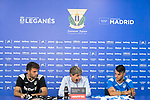 CD Leganes news players Juan Soriano (l) and Alex Martin (r) during their official presentation with sports director Chema de Indias. July 12, 2019. (ALTERPHOTOS/Francis Gonzalez)