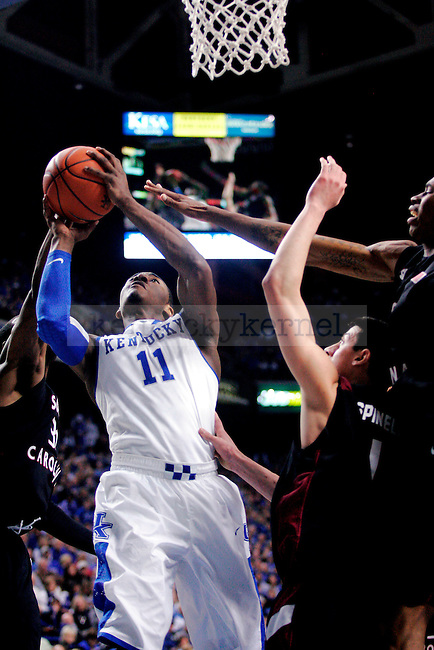 Freshman John Wall goes up for two points during the second half of UK's  win over the University of South Carolina 82-61 on Thursday, Feb. 25, 2010 at Rupp Arena. Photo by Allie Garza | Staff