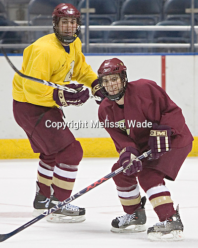 Benn Ferreiro, Pat Gannon - The Boston College Eagles practiced at the Bradley Center in Milwaukee, Wisconsin, on April 7, 2006 in preparation for the 2006 Frozen Four Final game vs. the University of Wisconsin on April 8, 2006.