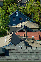 Roofs of houses in  Deep Cove, Burrard Inlet, Vancouver, British Columbia, Canada.