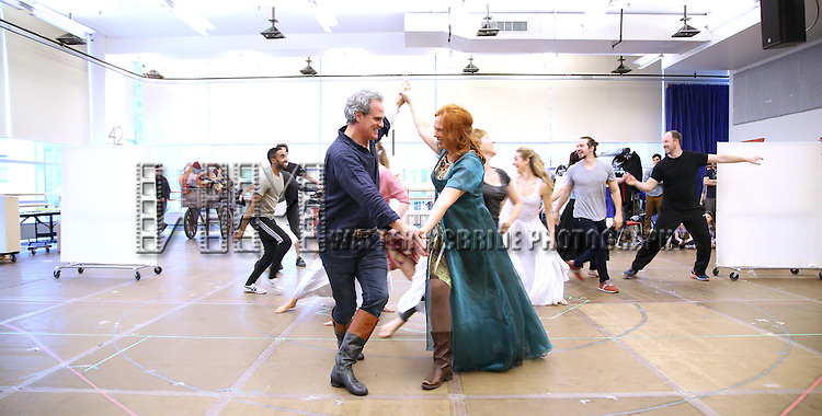 Michael Park and Carolee Carmello during the 'Tuck Everlasting' press sneak peek at the New 42nd Street studios on February 29, 2016 in New York City.