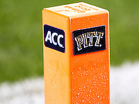 ACC/Pitt football pylon. The Pitt Panthers defeated the Old Dominion Monarchs 35-24 at Heinz Field, Pittsburgh, Pennsylvania on October 19, 2013.
