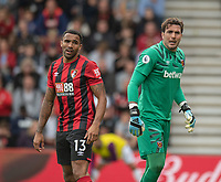 Bournemouth's Callum Wilson (left) and West Ham United's Roberto (right) <br /> <br /> Photographer David Horton/CameraSport<br /> <br /> The Premier League - Bournemouth v West Ham United - Saturday 28th September 2019 - Vitality Stadium - Bournemouth<br /> <br /> World Copyright © 2019 CameraSport. All rights reserved. 43 Linden Ave. Countesthorpe. Leicester. England. LE8 5PG - Tel: +44 (0) 116 277 4147 - admin@camerasport.com - www.camerasport.com