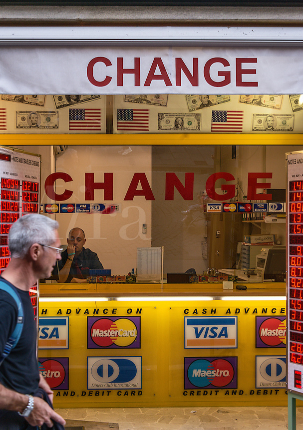 Currency exchange booth, Florence Italy