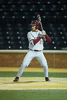 Rafael Bournigal (27) of the Florida State Seminoles at bat against the Wake Forest Demon Deacons at David F. Couch Ballpark on March 9, 2018 in  Winston-Salem, North Carolina.  The Seminoles defeated the Demon Deacons 7-3.  (Brian Westerholt/Four Seam Images)