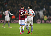 4th February 2019, London Stadium, London, England; EPL Premier League football, West Ham United versus Liverpool; Aaron Cresswell of West Ham United talking to Mohamed Salah of Liverpool at full time