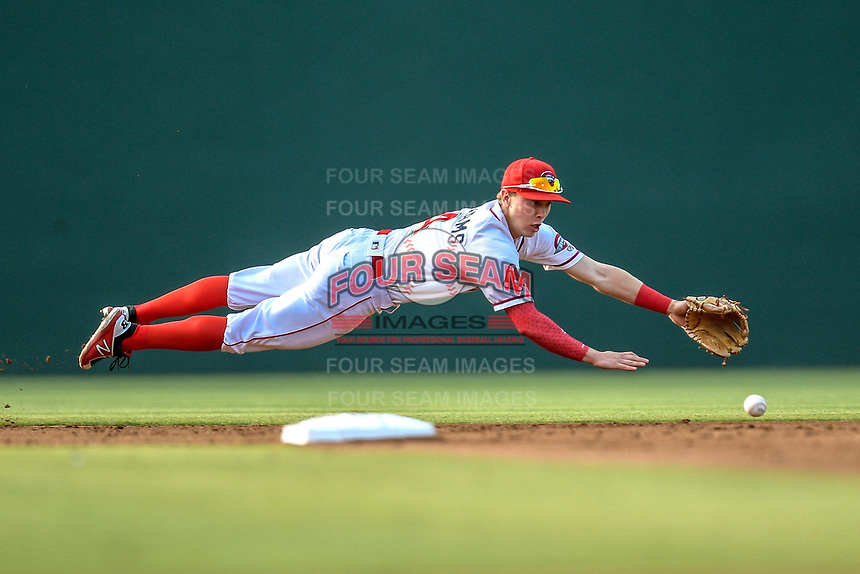 Shortstop Grant Williams (4) of the Greenville Drive lunges for a ground ball in a game against the Kannapolis Intimidators on Tuesday, June 11, 2019, at Fluor Field at the West End in Greenville, South Carolina. (Tom Priddy/Four Seam Images)