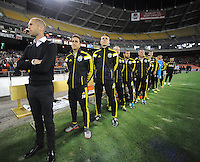 Washington D.C. - March 8, 2014: Columbus Crew Head Coach Gregg Berhalter with coaching staff.   The Columbus Crew defeated D.C. United 3-0 during the opening game of the 2014 season at RFK Stadium.