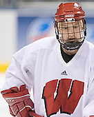 Nick Licari - The University of Wisconsin Badgers practiced on Friday, April 7, 2006, at the Bradley Center in Milwaukee, Wisconsin.  The following evening the Badgers defeated Boston College 2-1 to win the Title.