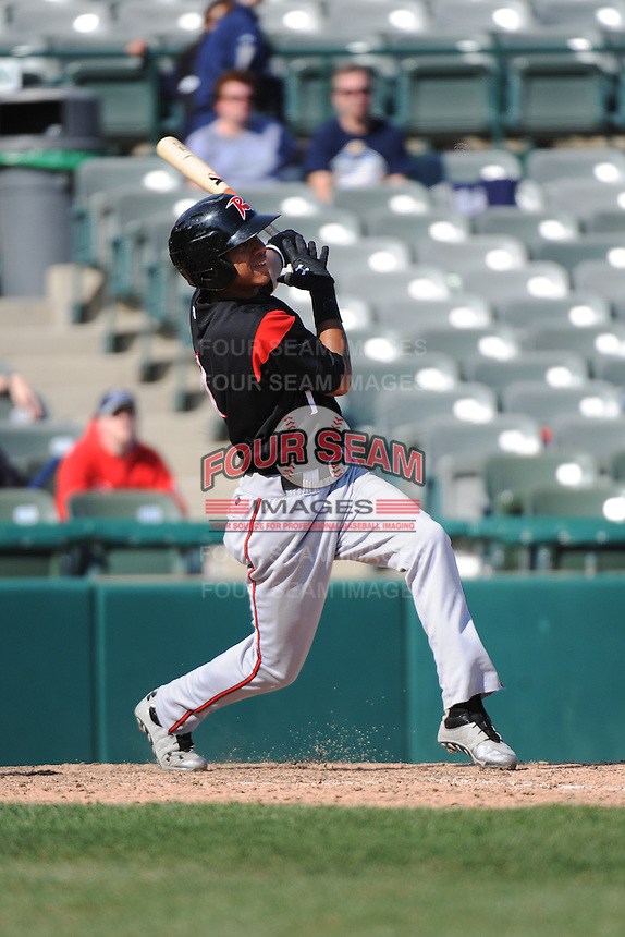 Richmond Flying Squirrels infielder Ehire Adrianza (1) during game against the Trenton Thunder at ARM & HAMMER Park on April 14 2013 in Trenton, NJ.  Trenton defeated Richmond 15-1.  (Tomasso DeRosa/Four Seam Images)