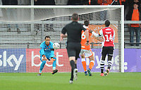 Blackpool's Christoffer Mafoumbi collects the loose ball<br /> <br /> Photographer Kevin Barnes/CameraSport<br /> <br /> Emirates FA Cup First Round - Exeter City v Blackpool - Saturday 10th November 2018 - St James Park - Exeter<br />  <br /> World Copyright &copy; 2018 CameraSport. All rights reserved. 43 Linden Ave. Countesthorpe. Leicester. England. LE8 5PG - Tel: +44 (0) 116 277 4147 - admin@camerasport.com - www.camerasport.com
