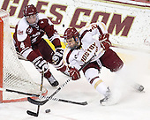 Conor Allen (UMass - 4), Steven Whitney (BC - 21) - The Boston College Eagles defeated the visiting University of Massachusetts-Amherst Minutemen 2-1 in the opening game of their 2012 Hockey East quarterfinal matchup on Friday, March 9, 2012, at Kelley Rink at Conte Forum in Chestnut Hill, Massachusetts.