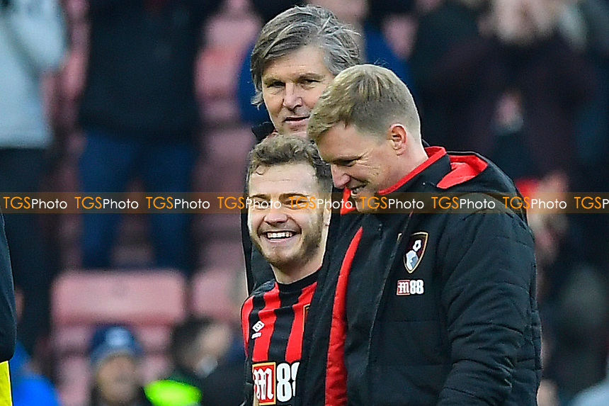 Ryan Fraser of AFC Bournemouth shares a joke with AFC Bournemouth Manager Eddie Howe at the final whistle during AFC Bournemouth vs Arsenal, Premier League Football at the Vitality Stadium on 14th January 2018
