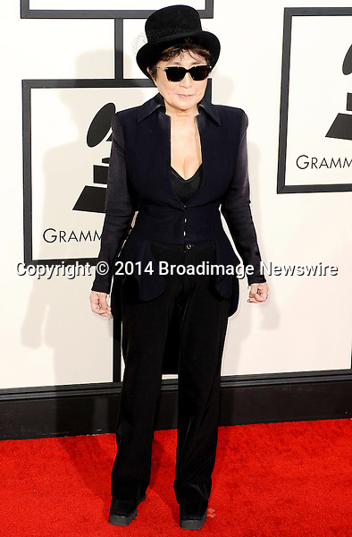 Pictured: Yoko Ono<br /> Mandatory Credit &copy; Adhemar Sburlati/Broadimage<br /> The Grammy Awards  2014 - Arrivals<br /> <br /> 1/26/14, Los Angeles, California, United States of America<br /> <br /> Broadimage Newswire<br /> Los Angeles 1+  (310) 301-1027<br /> New York      1+  (646) 827-9134<br /> sales@broadimage.com<br /> http://www.broadimage.com