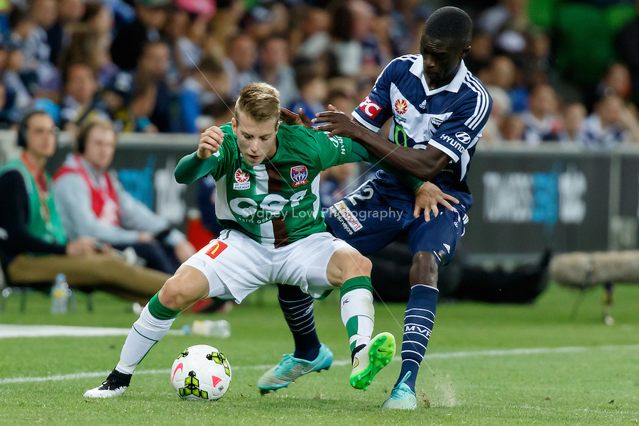Andrew HOOLE (11) of the Jets controls the ball in round 12 A-League match between Melbourne Victory and Newcastle Jets at AAMI Park in Melbourne, Australia during the 2014/2015 Australian A-League season. Melbourne def Newcastle 1-0