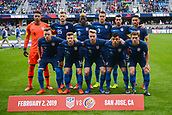 February 2nd 2019, San Jose, California, USA; The USA starting squad before the international friendly match between USA and Costa Rica at Avaya Stadium on February 2, 2019 in San Jose CA.