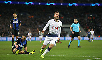 Tottenham Hotspur's Christian Eriksen celebrates scoring his side's first goal <br /> <br /> Photographer Rob Newell/CameraSport<br /> <br /> UEFA Champions League Group B - Tottenham Hotspur v Internazionale - Wednesday 28th November 2018 - Wembley Stadium - London<br />  <br /> World Copyright &copy; 2018 CameraSport. All rights reserved. 43 Linden Ave. Countesthorpe. Leicester. England. LE8 5PG - Tel: +44 (0) 116 277 4147 - admin@camerasport.com - www.camerasport.com