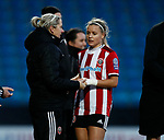Carla Ward coach congratulates Olivia Ferguson as she is substituted  during the The FA Women's Championship match at the Proact Stadium, Chesterfield. Picture date: 8th December 2019. Picture credit should read: Simon Bellis/Sportimage