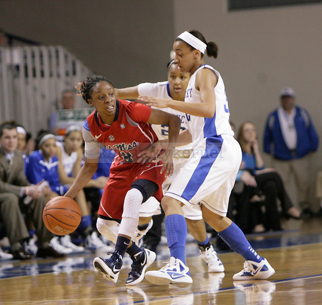 Sophomore guard Kastine Evans guards Ole Miss' guard Valencia McFarland during the first half of UK Hoops vs. Ole Miss at Memorial Coliseum in Lexington, Ky., on Thursday, Feb. 2, 2012. Photo by Tessa Lighty | Staff