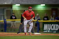 Lowell Spinners first baseman Joe Davis (55) during a NY-Penn League Semifinal Playoff game against the Batavia Muckdogs on September 4, 2019 at Dwyer Stadium in Batavia, New York.  Batavia defeated Lowell 4-1.  (Mike Janes/Four Seam Images)