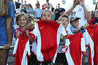 Cary, NC - Sunday October 22, 2017: U.S. fans after an International friendly match between the Women's National teams of the United States (USA) and South Korea (KOR) at Sahlen's Stadium at WakeMed Soccer Park. The U.S. won the game 6-0.