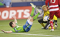 Seattle Sounders FC forward Mike Fucito  pleads for a call during play against FC Dallas at Qwest Field in Seattle Saturday May 14, 2011. Dallas won the game 1-0.