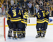 The Warriors celebrate their win which put them into the Final for the first time. - The Merrimack College Warriors defeated the University of New Hampshire Wildcats 4-1 (EN) in their Hockey East Semi-Final on Friday, March 18, 2011, at TD Garden in Boston, Massachusetts.
