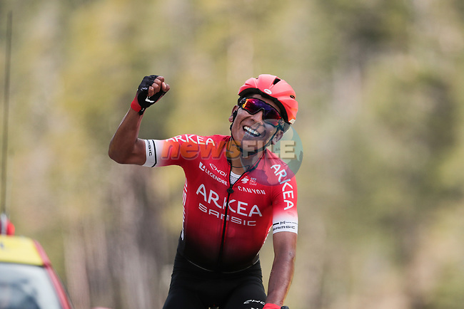 Nairo Quintana (COL) Team Arkea-Samsic wins Stage 7 of the 78th edition of Paris-Nice 2020, running 166.5km from Nice to Valdeblore La Colmiane, France. 14th March 2020.<br /> Picture: ASO/Fabien Boukla | Cyclefile<br /> All photos usage must carry mandatory copyright credit (© Cyclefile | ASO/Fabien Boukla)