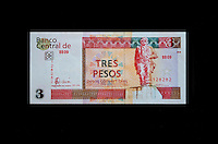 """Cuba, Havana.  """"Pesos Convertibles"""", the pesos used by tourists in Cuba.  This is a 3 peso note."""