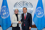 Secretary-General Ban Ki-moon (right) meets with Ulla Torness, Minister for Development Cooperation of Denmark.