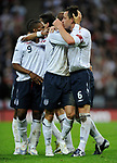 John Terry of England (R) celebrates his goal with provider David Beckham during the Friendly International match at Wembley Stadium, London. Picture date 28th May 2008. Picture credit should read: Simon Bellis/Sportimage