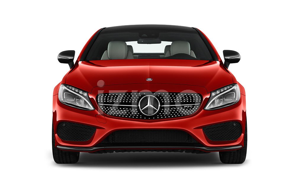 Car photography straight front view of a 2018 Mercedes Benz C-Class AMG-C43 2 Door Coupe Front View