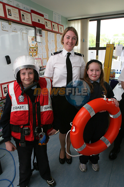 Ciaran Hoey and Grace O' Connell when the Coastguard visited Fieldstown National School....Photo NEWSFILE/Jenny Matthews.(Photo credit should read Jenny Matthews/NEWSFILE)....This Picture has been sent you under the condtions enclosed by:.Newsfile Ltd..The Studio,.Millmount Abbey,.Drogheda,.Co Meath..Ireland..Tel: +353(0)41-9871240.Fax: +353(0)41-9871260.GSM: +353(0)86-2500958.email: pictures@newsfile.ie.www.newsfile.ie.FTP: 193.120.102.198.