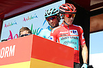 Race leader Red Jersey Miguel Angel Lopez Moreno (COL) and Manuele Boaro (ITA) Astana Pro Team at sign on before the start of Stage 2 of La Vuelta 2019 running 199.6km from Benidorm to Calpe, Spain. 25th August 2019.<br /> Picture: Luis Angel Gomez/Photogomezsport | Cyclefile<br /> <br /> All photos usage must carry mandatory copyright credit (© Cyclefile | Luis Angel Gomez/Photogomezsport)