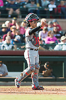 Salt River Rafters catcher Tres Barrera (12), of the Washington Nationals organization, during the Arizona Fall League Championship Game against the Peoria Javelinas at Scottsdale Stadium on November 17, 2018 in Scottsdale, Arizona. Peoria defeated Salt River 3-2 in 10 innings. (Zachary Lucy/Four Seam Images)