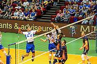GRONINGEN - Volleybal, Lycurgus - Achterhoek Orion, final playoff 1 seizoen 2018-2019,  21-04-2019, Lycurgus speler Niels de Vries legt aan voor een smash