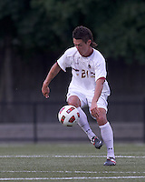 Boston College midfielder/defender Colin Murphy (21) traps the ball. Boston College defeated George Mason University, 3-2, at Newton Soccer Field, August 26, 2011.
